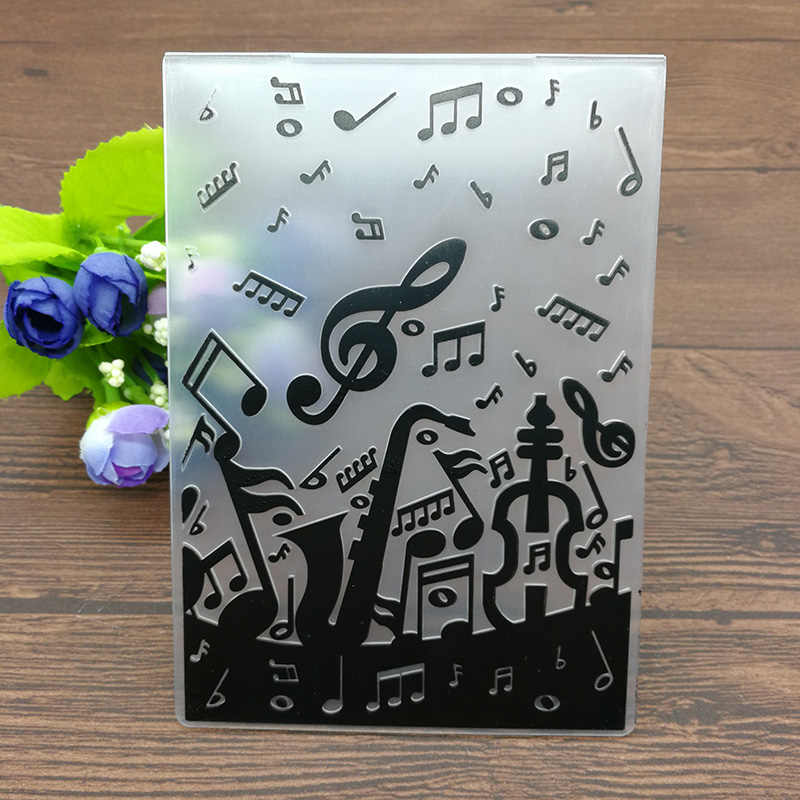 PLASTIC EMBOSSING FOLDER guitar music birthday scrapbook album card gift packing decoration cutting dies paper craft stencils