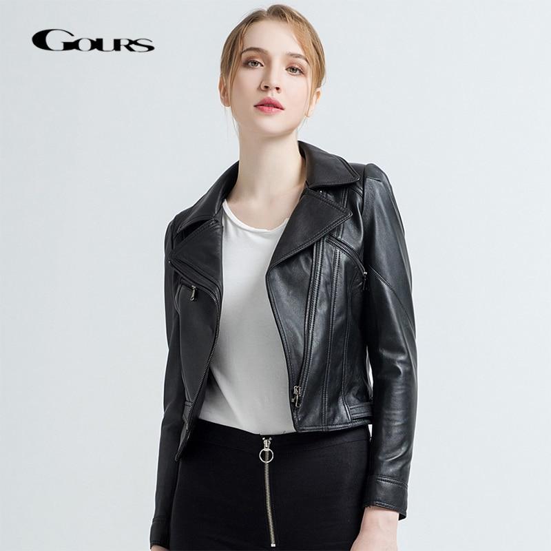 Gours Women s Genuine Leather Jackets Female Fashion Short Motorcycle Jacket Black Classic Punk Style Ladies