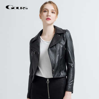 Gours Women's Genuine Leather Jackets Female Fashion Short Motorcycle Jacket Black Classic Punk Style Ladies Sheepskin Coat 1817 - DISCOUNT ITEM  40% OFF All Category
