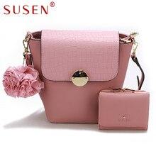 SUSEN 1140 Women Handle Shoulder Bag with Same Color Purse 2 Pcs Set Cover Closure Solid