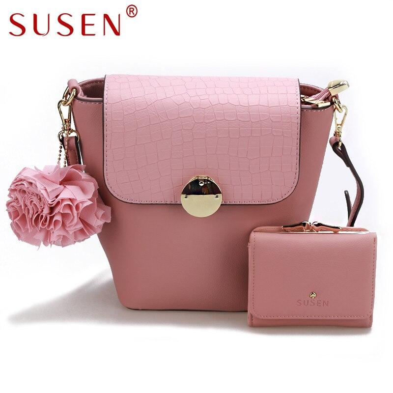 SUSEN 1140 Women Handle Shoulder Bag with Same Color Purse 2 Pcs font b Set b