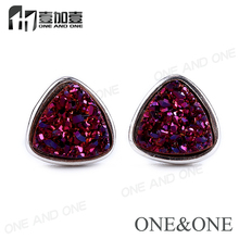Free Shipping Stainless Steel Natural Druzy Stone Earring Drusy jewelry Stud Earrings For Women