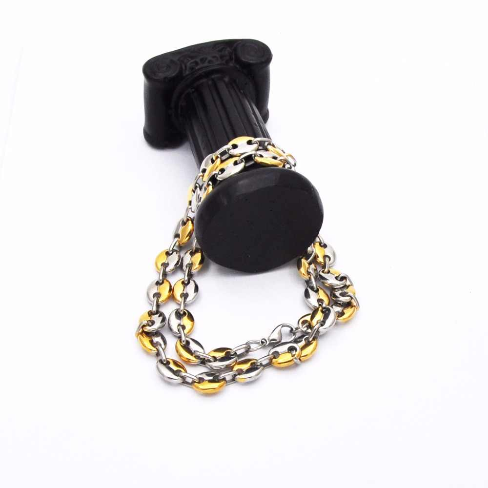 Jewelry Best Sale Stainless Steel Gold Silver Coffee Beans Chain Necklace Punk For Men & Women Gifts N04041
