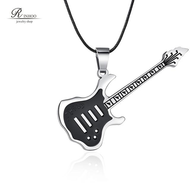 f10332cf88f0 Rinhoo de moda Cadena de cuero guitarra Collar para hombres música Punk Rock