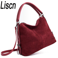 LISCN Women's PU stitching suede leather shoulder bag female casual nubuck casual handbag Hobo Messenger bag handbag