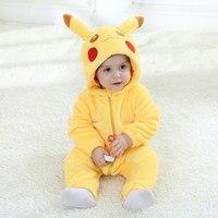 Baby Romper Long Sleeves 100% Flannel Baby Pajamas Cartoon Pikachu Printed Newborn Baby Girls Boys Lovely Pokemon Clothes