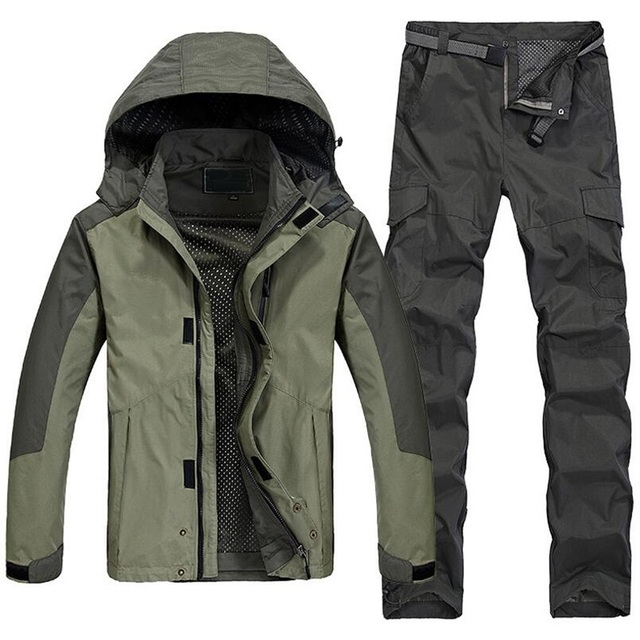 Men Outdoor Sports Jacket Mens Camping Hiking Waterproof Windproof Coat Set Windbreaker Clothes For Fishing