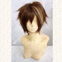 Culpado coroa ouma shu curto marrom mix fofo em camadas de cabelo sintético cosplay anime perucas + peruca livre boné