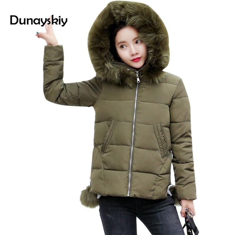 Newest Parkas Women Winter Coats Faux Fur Collar Hooded Cotton Slim Warm Jacket Pompon decoration Jackets Coat Top Dunayskiy