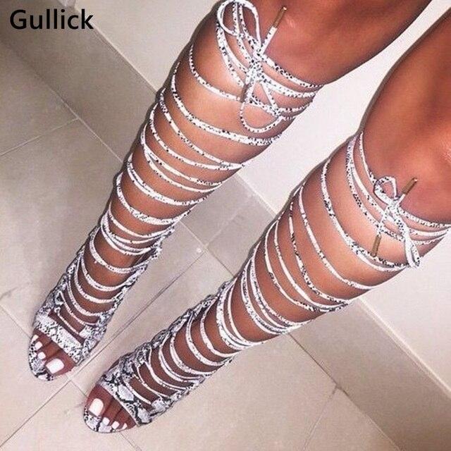 Yüksek Kaliteli Gerçek Fotoğraf Diz Çizmeler Üzerinde Ince Topuk Lace Up Sıcak Satış Kadınlar Yılan Cilt Peep Toe Uzun çizmeler Ücretsiz Kargo