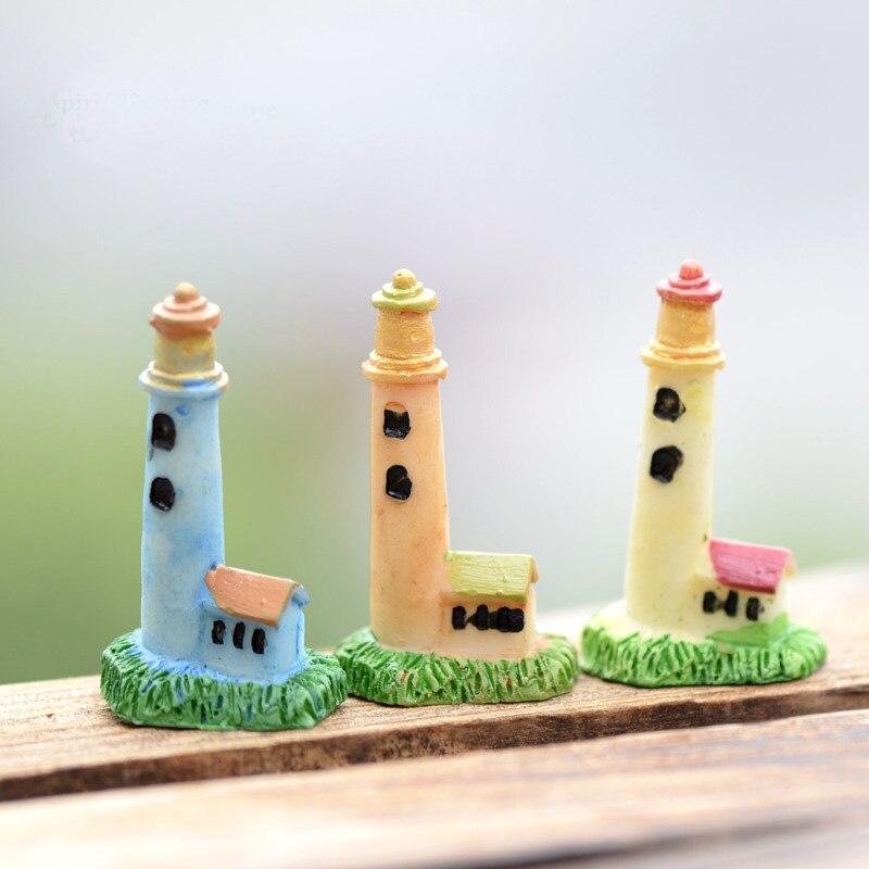 XBJ024 Zakka Artificial Mini Lighthouse Beacon Micro Landscaping Decoration Small World Plastic Craft DIY Accessories