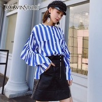 TWOINSTYLE Striped Tops Female Loose Butterfly Sleeve Patchwork Pocket Women's Shirt Blouse 2018 Autumn Fashion Streetwear Style