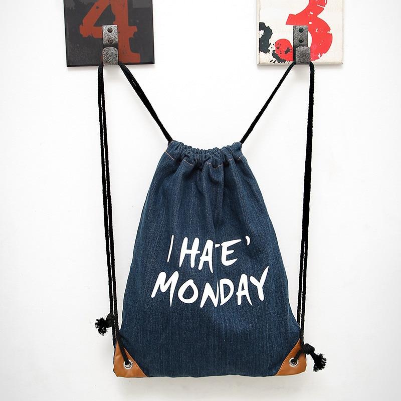 women leisure package Drawstring backpack rucksack Middle School Backpack Drawstring denim bag Finishing jewelry pocket