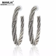 MANILAI Luxury Fashion Circle Silver Color Crystal Big Earring Women Statement Charm Rhinestone Hoop Earrings 2018 Jewelry Gifts(China)