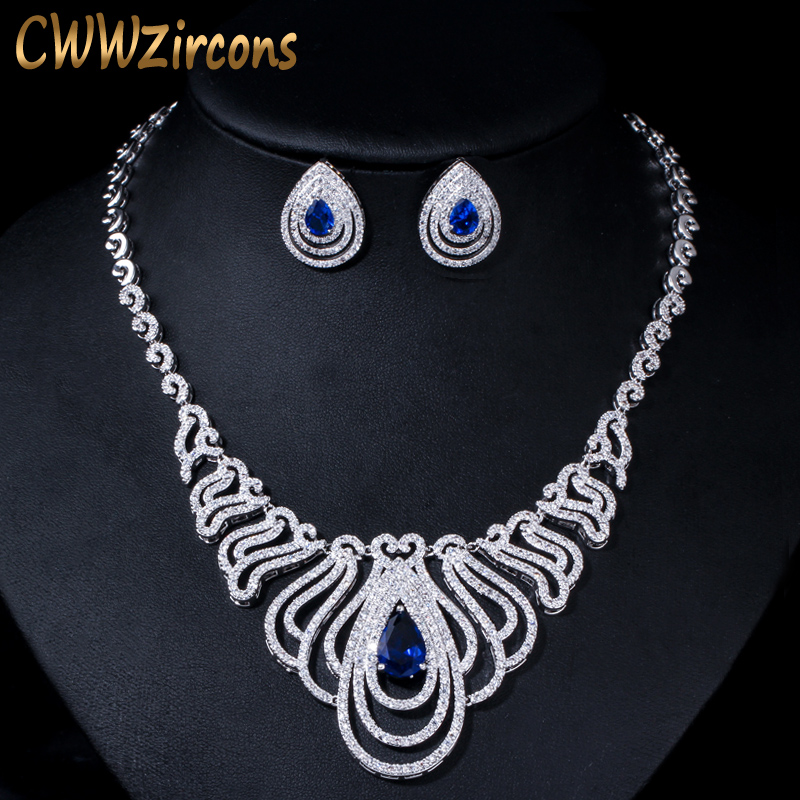 QualitäT In Cwwzircons Royal Blau Cz Kristall Runde Abendessen Partei Halskette Ohrringe Schmuck Sets Für Hochzeit Braut Kleid Zubehör T333 üBerlegene
