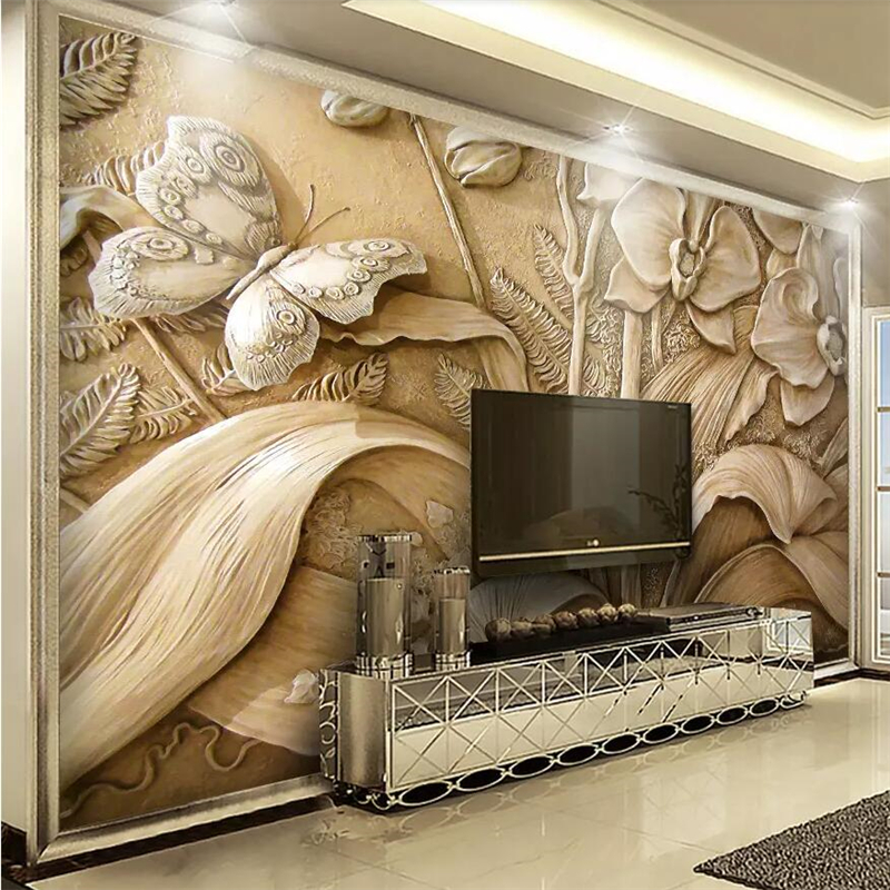 beibehang Custom wallpaper large upscale 3D embossed orchid butterfly background wall painting living room bedroom wallpaper