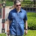 Free shipping Plus size denim clothing male men's clothing fat thin summer 100% cotton top short-sleeve shirt S-8XL 150 cm
