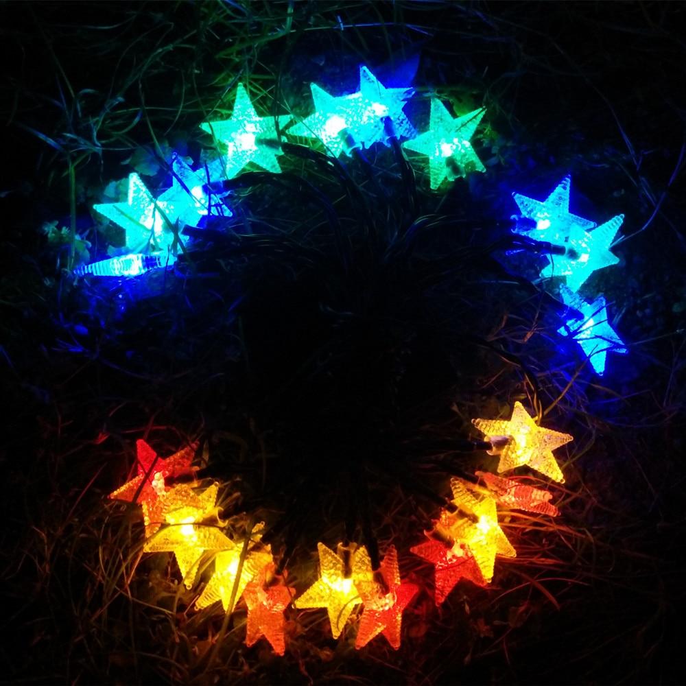 YIYANG 100 звезды Солнечный Открытый Сад Путь лампы украшения дома огни 12 м для отдыха и вечеринок Панели солнечные Мощность светодиодный строк...