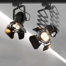 Thrisdar 30W Industrial Loft Vintage LED track light Four-Leaf Stretch Rail Track Spotlight Clothing Store COB spotlights