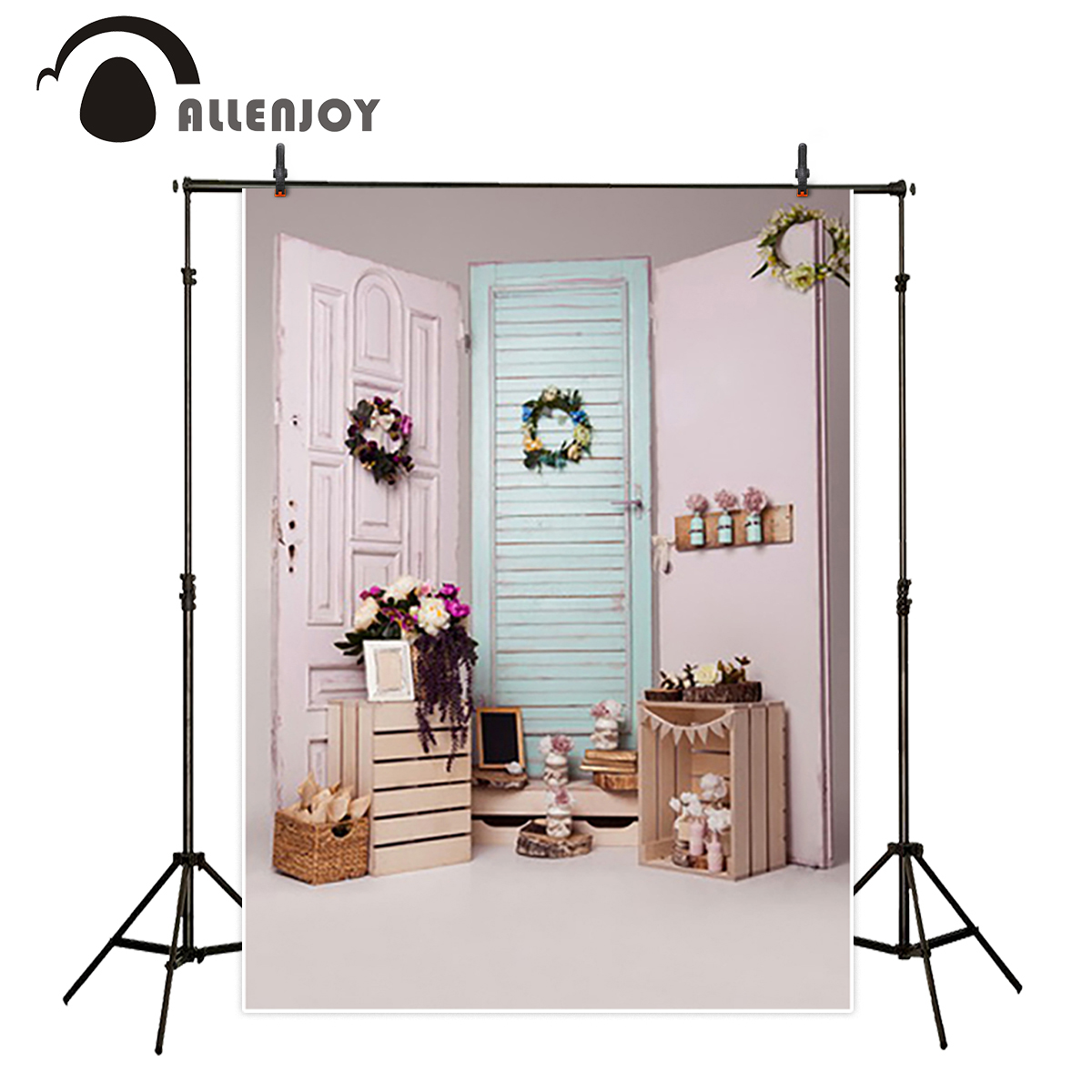 Allenjoy vinyl backdrops for photography backdrop Pink door Garland Girl personally customize children Background for Studio allenjoy backdrops baby shower background pink stripe rose gold circle birthday invitation celebration party customize