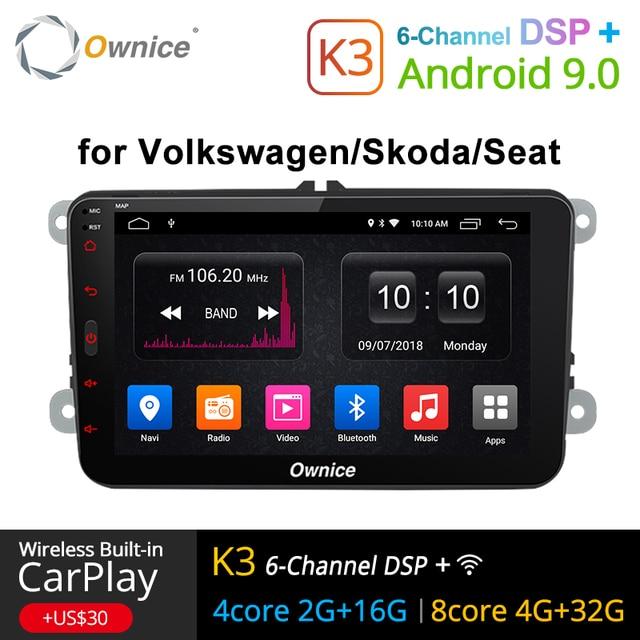Ownice K1 K2 K3 アンドロイド 9.0 ハンドフリーの bluetooth ユニバーサル 2 喧騒車のラジオ GPS フォルクスワーゲン/シュコダ/ シート