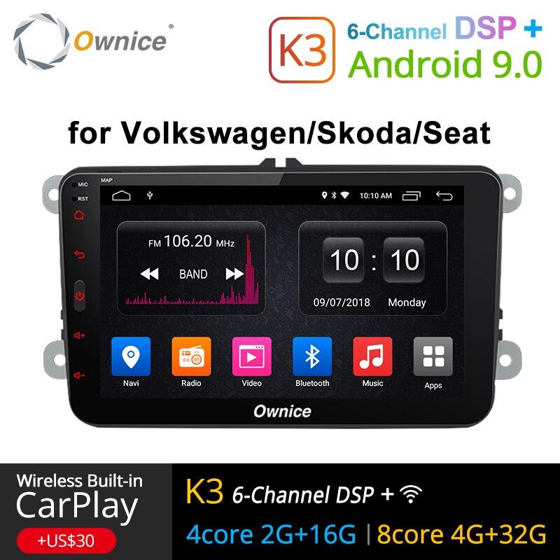 Ownice K1 K2 2 K3 Android 9.0 bluetooth mãos livres Universal Din GPS Rádio Do Carro para Volkswagen/Skoda/ assento