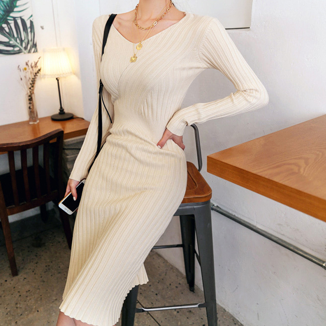 Chic Autumn Winter Sweater Dress Women Sexy V-neck Long Sleeve Elastic Thick Knit Knee Length Dresses Female Bodycon Dress