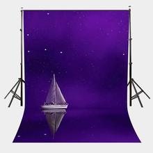 5x7ft Sailing Boat Backdrop Ultra Violet Sky Night View Photography Background Pantone 18-3838
