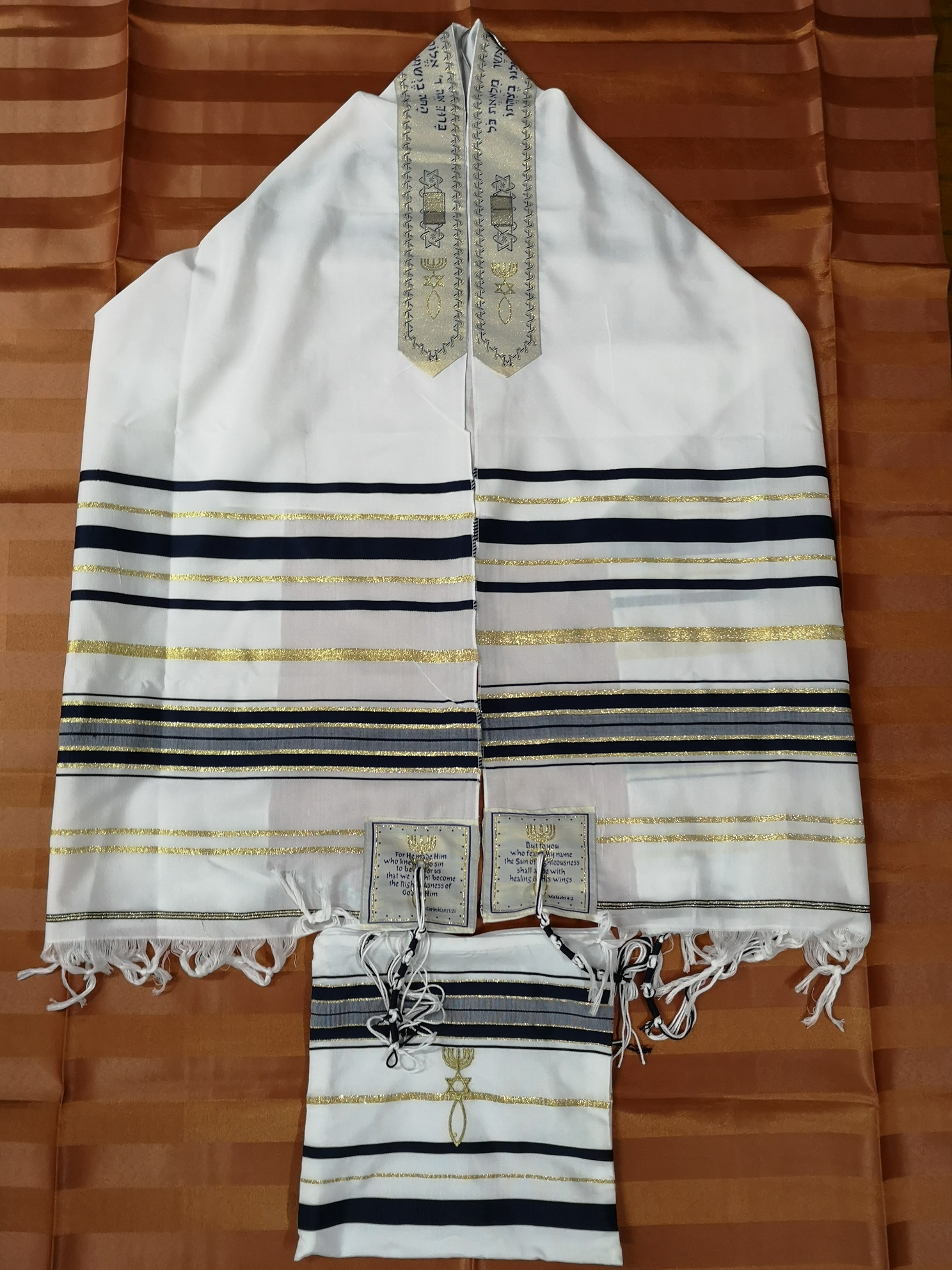 Messianic Jewish Tallit Talit Prayer Shawl & Talis Bag title=