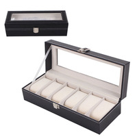 Leather 6 Grid Luxury Refinement Slots Wrist Watches Gift Box Case Black Jewelry Display Boxes Storage