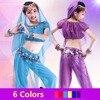2017 Girls Children Kids Belly Dance Costumes 2Pcs 4Pcs Top Veil Bracelets Pant Silk Veil Belly