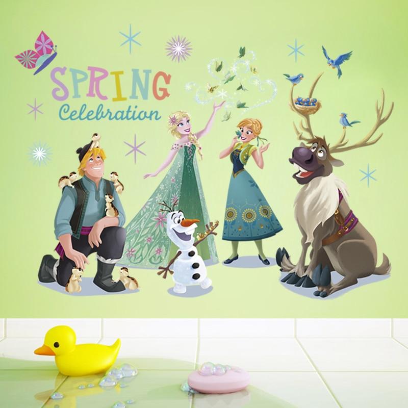 דיסני קריקטורה מדבקה קפוא צעצוע לילדים Elsa עמיד למים מדבקות ילדי חדר שינה קישוט pusheen מדבקת pegatinas