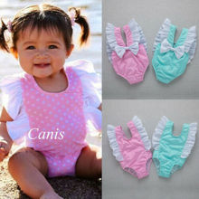 UK Toddler Kids Baby Girl Swimwear Bow Sleeveless Romper Swimsuit Outfit Bathing Clothes