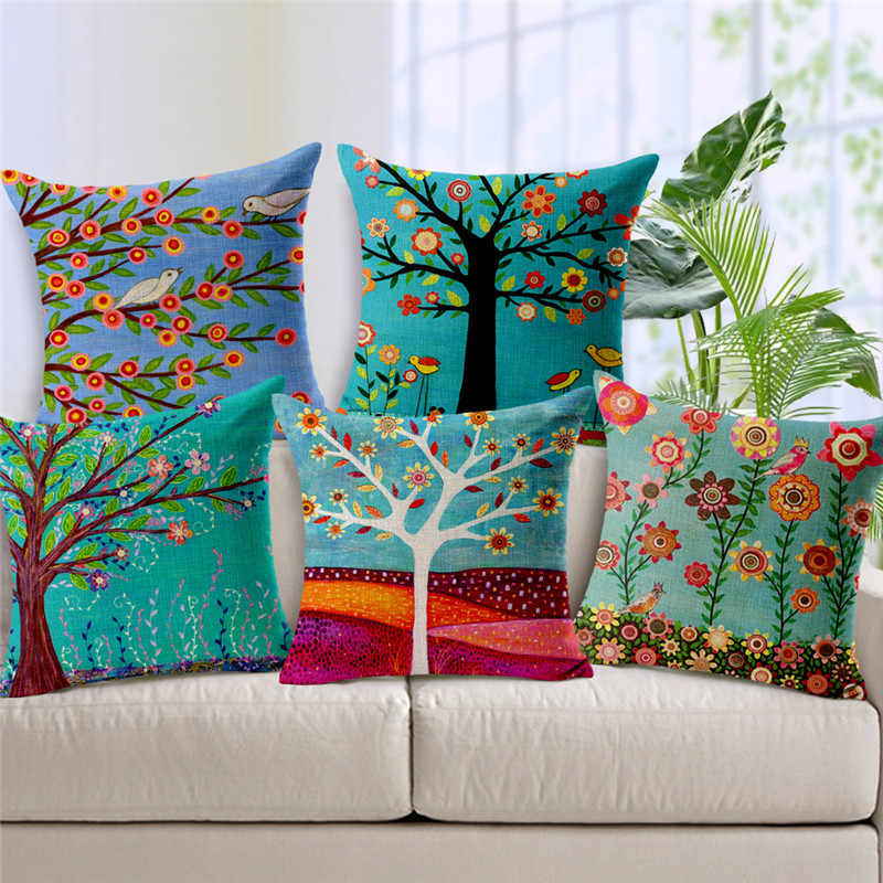Country Throw Cushion Cover Colorful Painting Flowers Pillowcase Bird Tree Plant Home Decor Outdoor Living Room Garden Pillows Cushion Cover Cushion Cover Paintingthrow Cushions Aliexpress