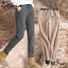 Зимние кашемировые шаровары Теплые брюки женские бархатные толстые овечья кожа кашемировые брюки для женщин свободные зимние повседневные женские брюки теплые