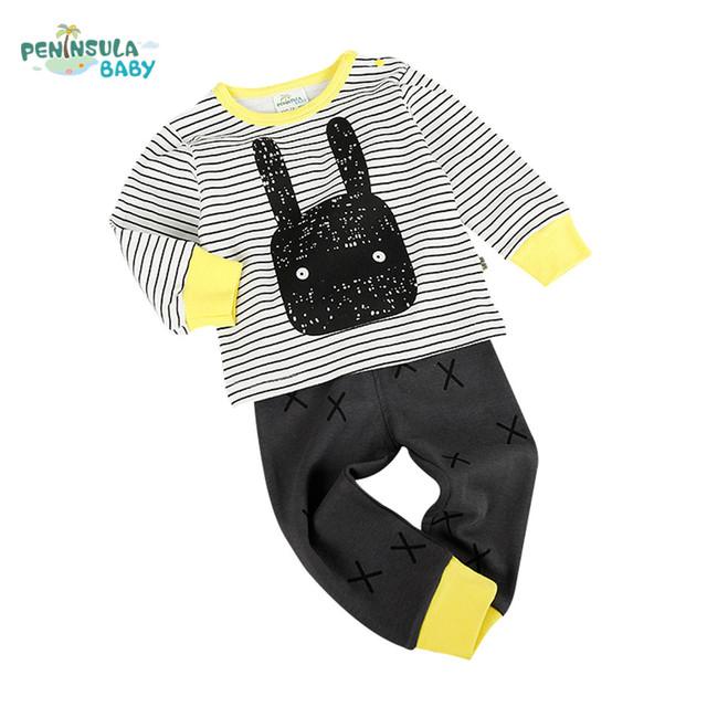 Nova primavera de algodão roupas de bebê menino manga longa t camisas + calças infantis conjuntos de roupa dos miúdos da menina para o outono recém-nascidos travessas