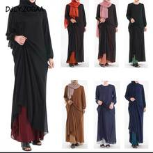 2019 New Fashion Muslim Abaya Women O-Neck Long Skirt Ramadan Female Pocket Patchwork National Costume Womens Islamic Clothing