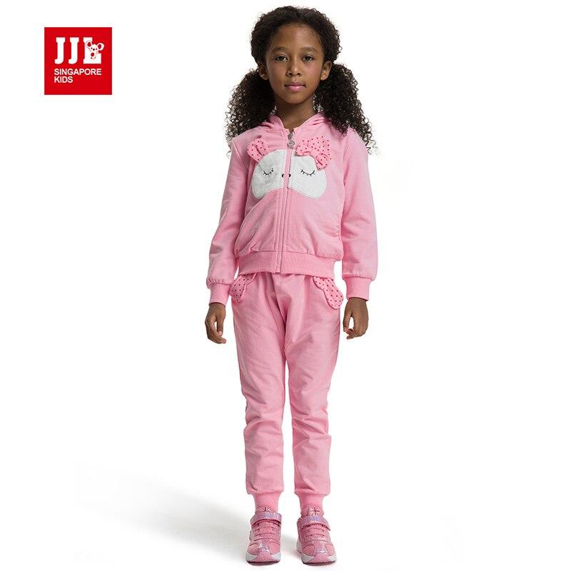 JJL KIDS rabbit dot hooded children clothing girls suit