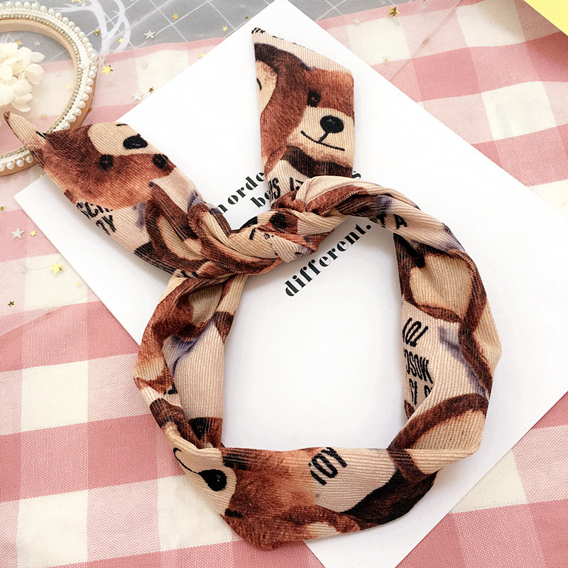 Korea Corduroy Cloth Headbands For Girls Bunny Hairbands For Women Forest Hair Bows Hair Accessories -4
