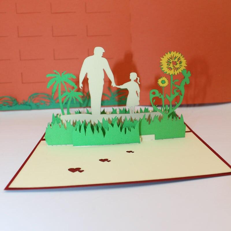 2 28 50 De Descuento 3d Láser Cortado Hecho A Mano Sol Flor Con Papá E Hija Invitación De Papel Tarjetas De Felicitación Tarjeta Postal Muestra Amor