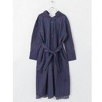 2018 dài dress nữ dài Tay Áo lần lượt xuống cổ áo ăn mặc giản dị cộng với kích thước sọc loose văn phòng đảng dài maxi dress hot bán