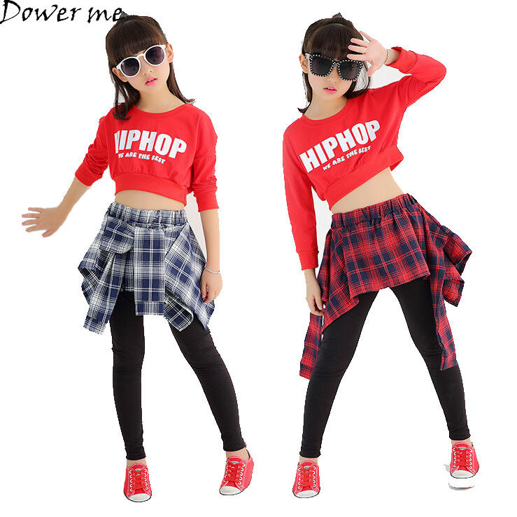 цена Girls Two Piece Set Long Sleeve Children Crop Tops And Plaid Skirt Pant Kids Hip Hop Dance Clothes For Girls Children