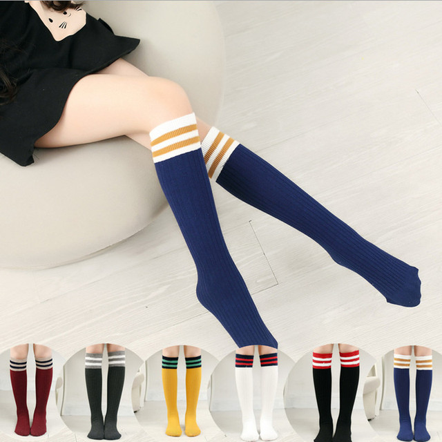 8512d556f Baby Girls Knee High Socks Boys Old School Athletic Socks Striped Football  Classic Leg Warmer Stretch Loose Socks White Brand