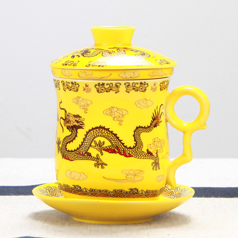 Chinese Kung Fu Ceramic Cups High Quality Porcelain Royal Dragon Pattern Tea Cup Chinese Style Porcelain Tea Set Coffee Cups