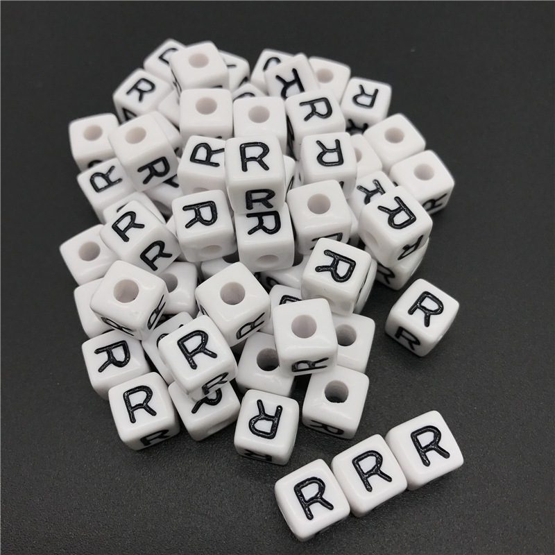 Jewelry & Accessories Free Shipping Cube Single R Printing Gold Acrylic Letter Beads 500pcs 2600pcs 6*6mm Square Plastic Alphabet Jewelry Spacer Beads For Fast Shipping