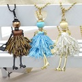 30pcs Wholesale Women French Paris Girl Doll Pendant Necklace Cute Bead Dress Handmade Doll Crystal Necklace Fashion Jewelry