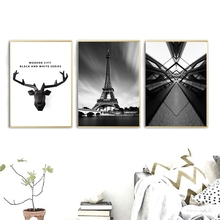 Modern City Black and White Series Paris Landscape Picture for Dining Room Wall Decor Deer Animals Poster Art Canvas Prints