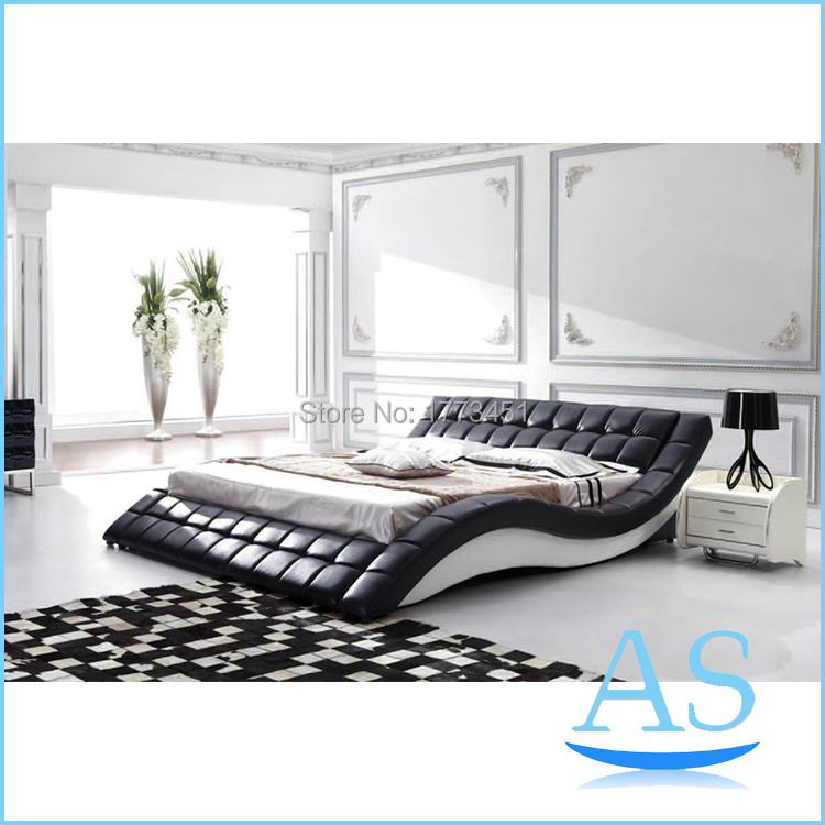 New product black color leather Soft bed model bed Bedroom ... on New Model Bedroom  id=33259