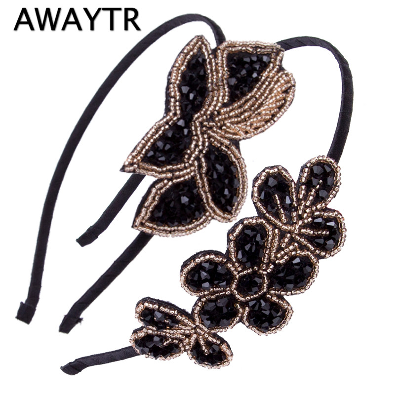AWAYTR Women Beaded Flapper Headband Leaf Vintage 1920s Inspired Hairband New Black Side Flower Hair Band Girls Hair Accessories