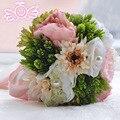 Literary Forset Style Brides Bouquet Silk Bridal Flowers for Outdoor Wedding Hemp Rope Ribbon bouquet di seta kunst boeketten